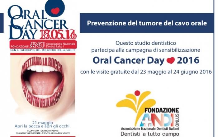 Visita odontoiatrica gratuita, campagna di prevenzione del tumore del cavo orale 2016